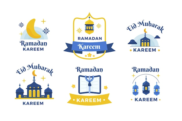 Collection d'insignes de ramadan plat