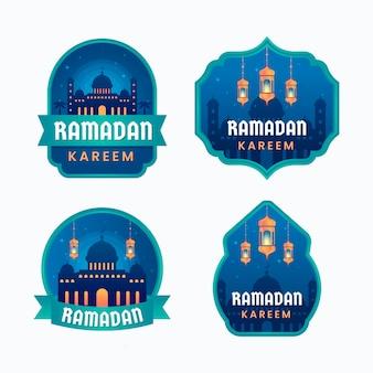 Collection d'insignes de ramadan plat