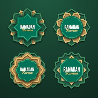 Collection d'insignes de ramadan réaliste