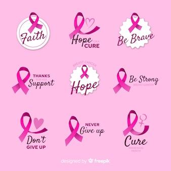 Collection d'insignes réalistes de sensibilisation au cancer du sein