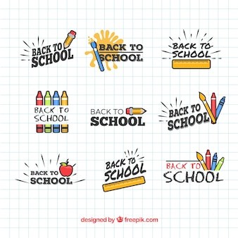 Collection d'insignes de retour à l'école