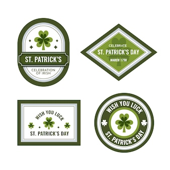 Collection d'insignes de la saint-patrick au design plat