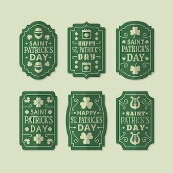 Collection d'insignes de la saint-patrick dans un style vintage