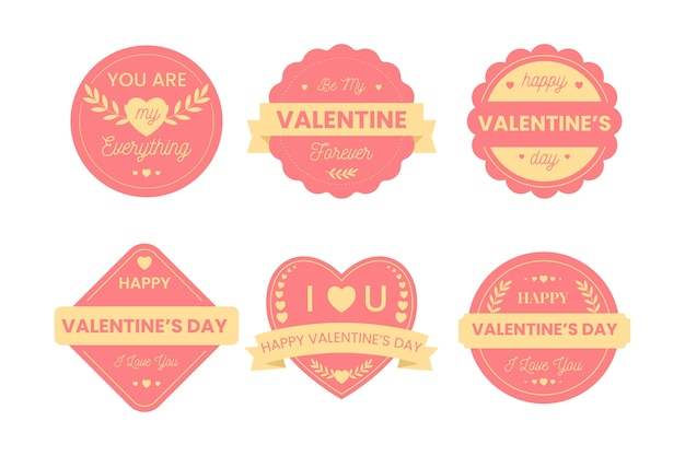 Collection d'insignes de la saint-valentin au design plat