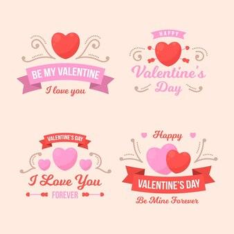 Collection d'insignes de la saint valentin design plat