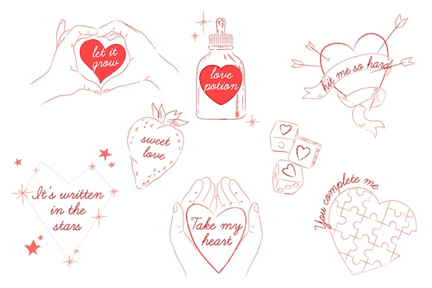 Collection d'insignes de saint valentin dessinés à la main
