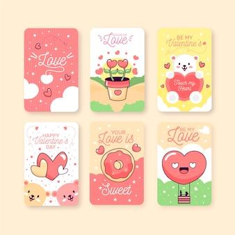 Collection d'insignes de saint valentin dessinés à la main