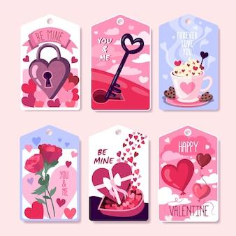 Collection d'insignes de la saint-valentin dessinés à la main