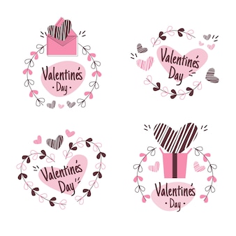 Collection d'insignes de la saint-valentin