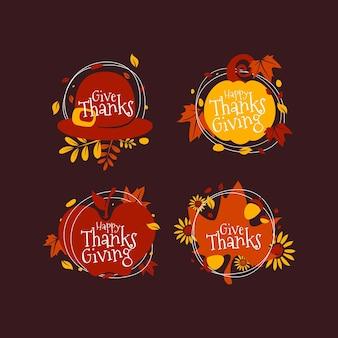 Collection d'insignes de thanksgiving design plat
