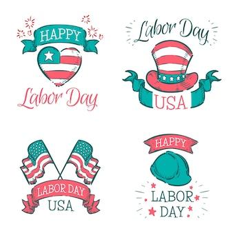 Collection d'insignes usa fête du travail dessinés à la main