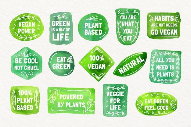 Collection d'insignes végétariens à l'aquarelle