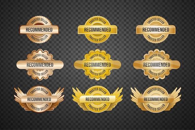 Collection d'insignes de vendeur approuvés ou recommandés