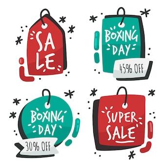 Collection d'insignes de vente de boxe dessinés à la main