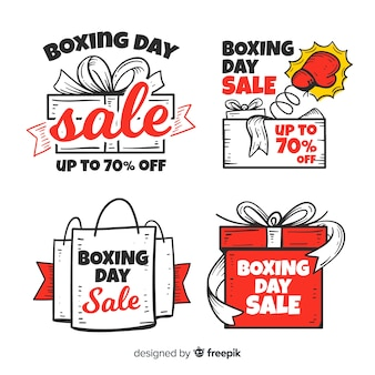 Collection d'insignes de vente boxing day dessinée