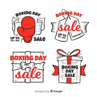 Collection d'insignes de vente boxing day dessinée