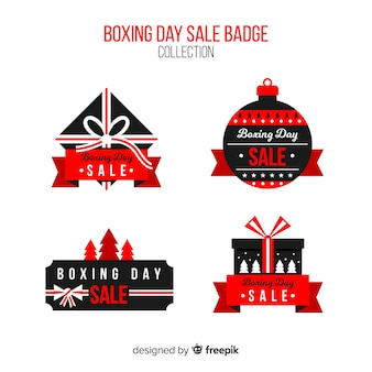 Collection d'insignes de vente boxing day dessinés à la main
