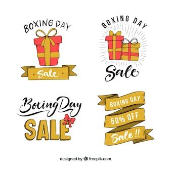 Collection d'insignes de vente boxing day dessinés à la main