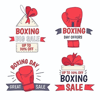 Collection d'insignes de vente dessinés à la main boxing day