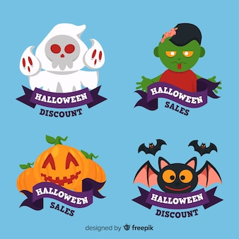 Collection d'insignes de vente d'halloween au design plat