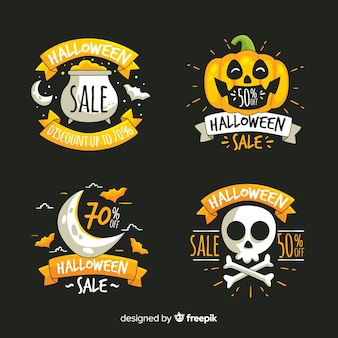 Collection d'insignes de vente halloween dessinés à la main