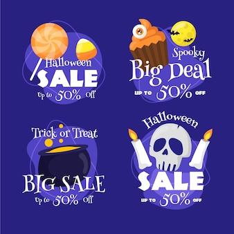Collection d'insignes de vente halloween dessinés à la main