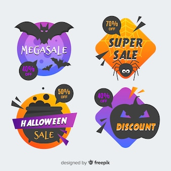 Collection d'insignes de vente halloween géométrique
