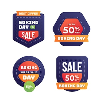 Collection d'insignes de vente plat boxe day