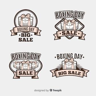 Collection d'insignes de vente vintage boxing day