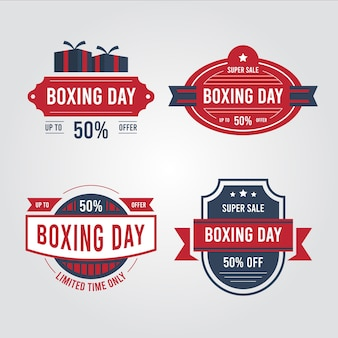 Collection d'insignes de vente vintage boxing day