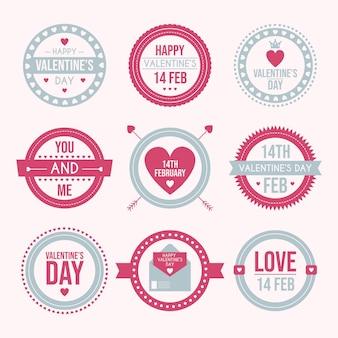 Collection d'insignes vintage pour la saint valentin