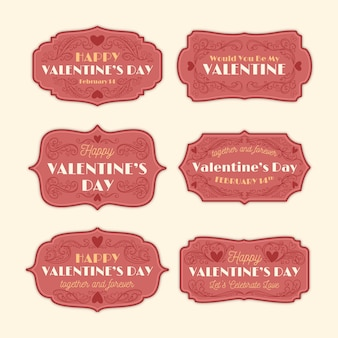 Collection d'insignes vintage de la saint-valentin