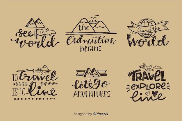 Collection d'insignes de voyage de lettrage