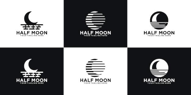 Collection d'inspiration de conception de logo en demi-lune