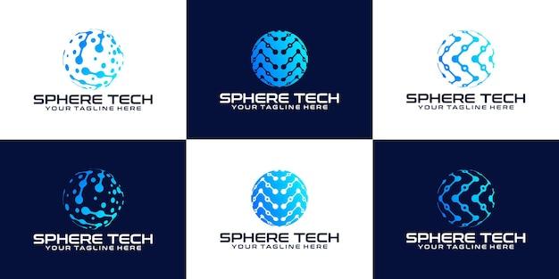 Collection d'inspiration de conception de logo de globe de technologie