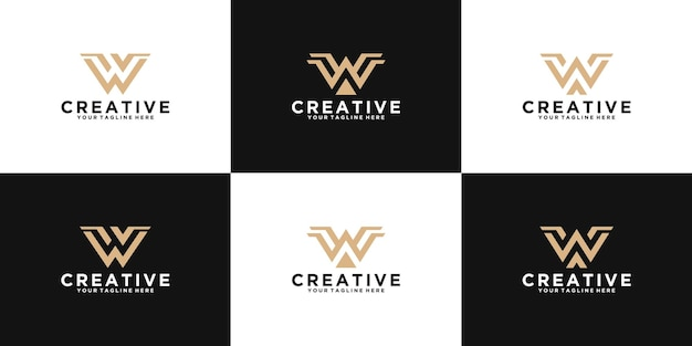 Une collection d'inspiration de conception de logo de lettre initiale w pour la mode, les affaires et la technologie