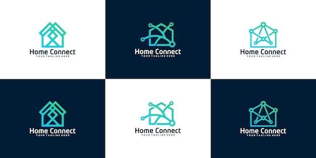 Collection d'inspiration de conception de logo de maison de technologie de données
