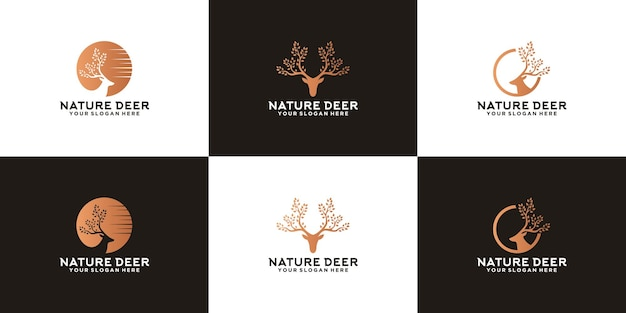 Collection d'inspiration de logo d'animal de cerf avec le cerf de nature de bois d'arbre
