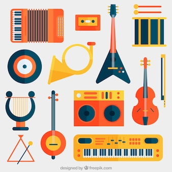 Collection d'instruments de musique à plat