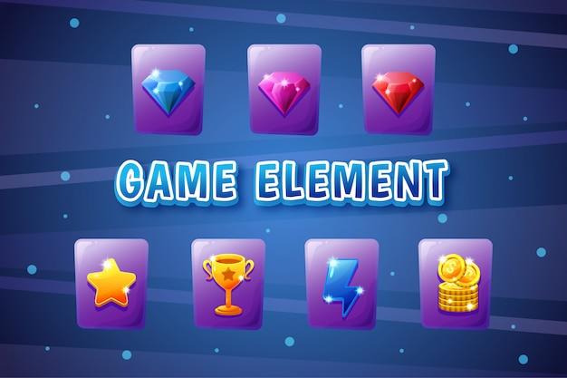 Collection d'interface utilisateur de jeu avec bouton, élément de jeu