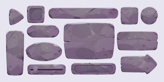 Collection d'interface utilisateur en pierre de dessin animé