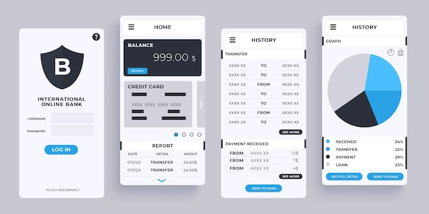 Collection d'interfaces d'applications bancaires