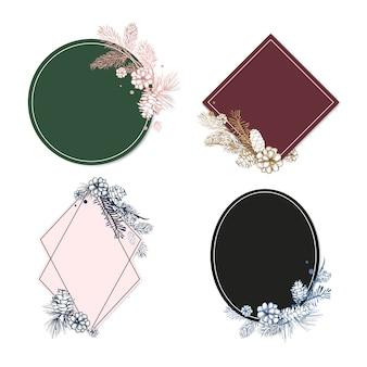 Collection d'invitation de mariage floral vierge