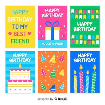 Collection d'invitations anniversaire dessinés à la main coloré