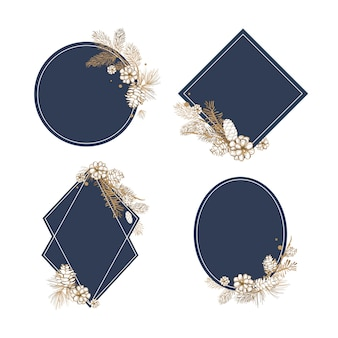 Collection d'invitations florales vierges