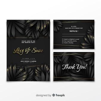 Collection d'invitations de mariage élégant avec des feuilles tropicales