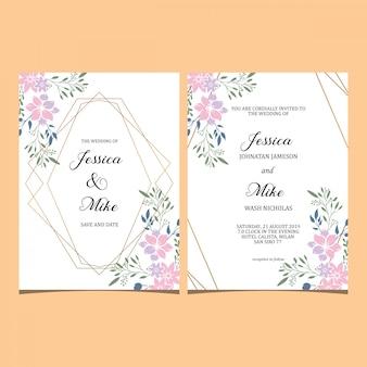 Collection d'invitations de modèle de cadre mariage floral