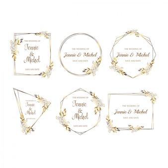 Collection d'invitations de modèle de mariage floral doré