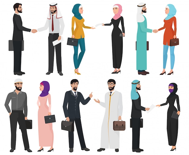 Collection isolée de gens d'affaires arabe musulman.