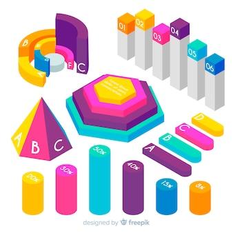 Collection isométrique d'éléments infographiques